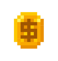 Video game coin pixelated icon vector