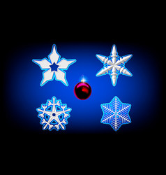 volume white snowflake from paper on a blue vector image