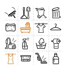 washing icons vector image