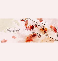 Watercolor autumn abstract background with oak vector