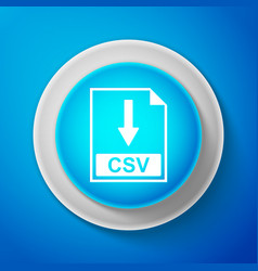 white csv file document icon download csv button vector image