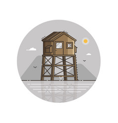 Wooden bay watch tower in line art vector