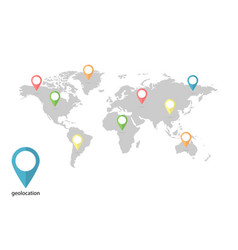 world map with geolocation on blank background vector image