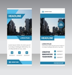 Blue Simple Business Roll Up Banner templates set vector image