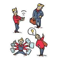 businessman cartoon icons set vector image vector image