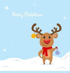 funny reindeer with christmas balls vector image