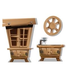 Kitchen interior furniture in Wild West style vector image