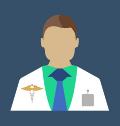 male doctor medical object flat icon vector image vector image