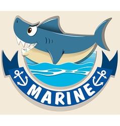 Marine logo with shark vector image vector image