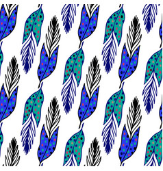 seamless ethnic pattern with hand drawn feathers vector image vector image