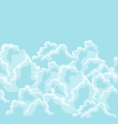 blue sky seamless pattern with curly clouds vector image vector image