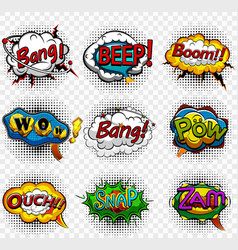 comic speech bubbles on transparent background vector image
