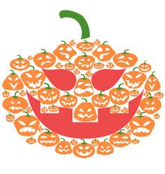 flat cartoon halloween pumpkin face vector image