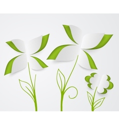 flower and green leaves of paper vector image