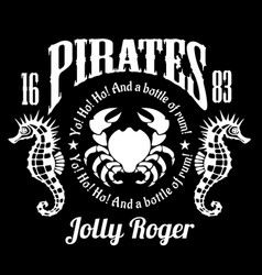 pirates jolly roger symbol poster of skull vector image