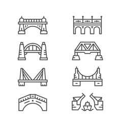 Set line icons of bridges vector image vector image