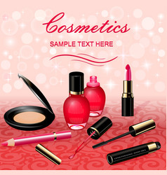 a background with cosmetics lipstick ink a pencil vector image vector image