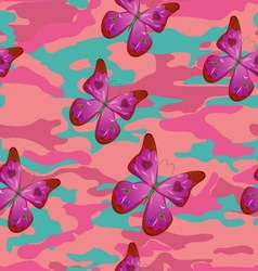 Butterfly on the pink military background pattern vector image
