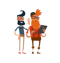 creative team people hipster business landing page vector image vector image