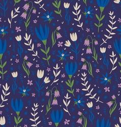 Deep blue floral pattern vector image vector image