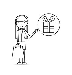 drawing girl shopping with gift box vector image