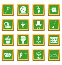 Magic icons set green vector