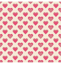Seamless hearts pattern retro texture red and pink vector image