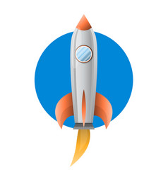 space metal rocket with blue pothold flies up vector image