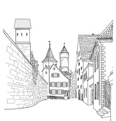 street view in old city medieval cityscape - vector image