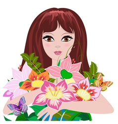 woman bouquet2 vector image