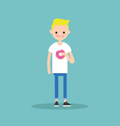 young blond boy chewing a strawberry donut flat vector image vector image