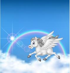 Beautiful pegasus flying on rainbow background vector image vector image