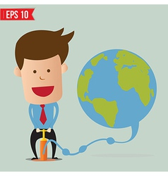 Cartoon Business man pumping earth balloon - vector image
