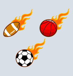 flaming sport ball vector image vector image