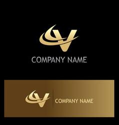 gold letter v business logo vector image