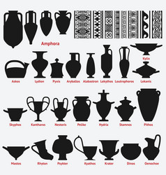 set of antique greek vases and border decoration vector image vector image