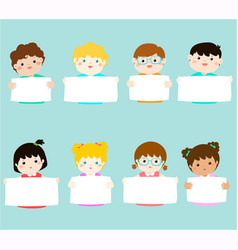 smiley kids hold blank banner vector image vector image