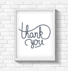 Thank you hand-drawn lettering on brick wall vector image vector image