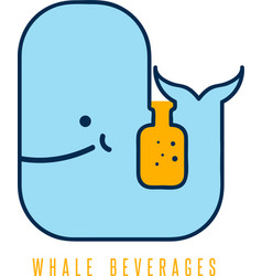 whale with negative space bottle design template vector image