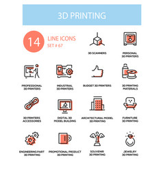 3d printing - line design style icons set vector image