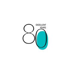 80 years anniversary celebration elegant number vector