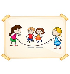 A frame with kids playing vector image