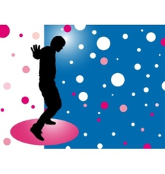 Abstract background with silhouette disco man vector image