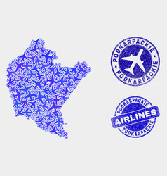 Airlines mosaic podkarpackie voivodeship vector