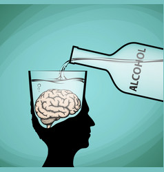 alcohol addiction violation of brain functions vector image