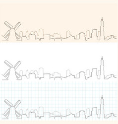 Amsterdam hand drawn skyline vector