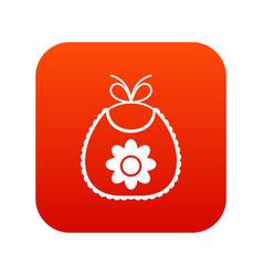 Baby bib icon digital red vector