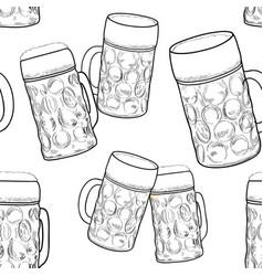 beer glass seamless pattern full mug retro vector image