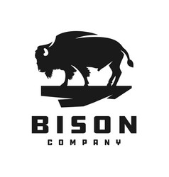 bison silhouette animal logo vector image