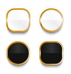 Black and white glossy buttons vector